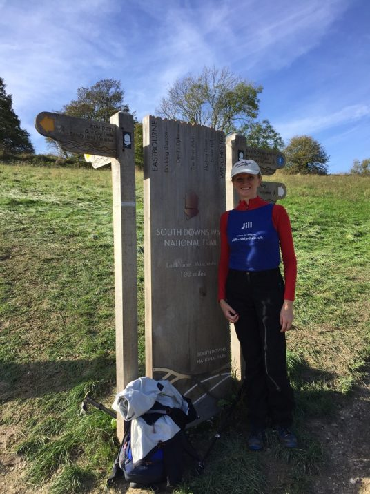 Jill Pringle at the end of the south downs way Eastbourne